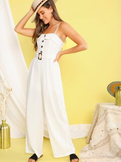 Button Front Belted Wide Leg Tank Jumpsuit