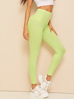 Neon Lime Rib-knit Leggings