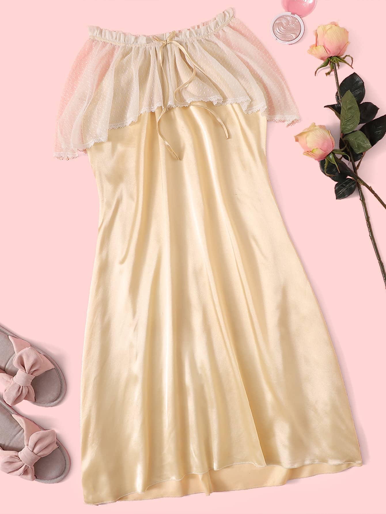 Фото - Атласное вечернее платье со сетчатой вставкой от SheIn цвет бежевые