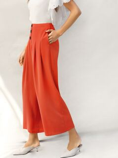 Neon Orange Button Fly Wide Leg Pants