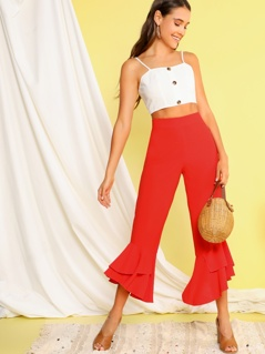 Solid Layered Ruffle Hem Crop Pants
