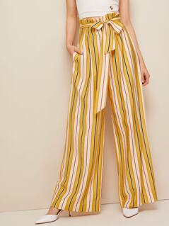 Paperbag Waist Striped Wide Leg Pants