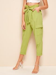 Paperbag Waist Flap Pocket Cigarette Pants