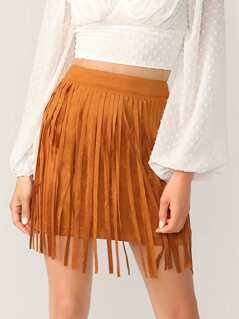 Zip Back Fringe Trim Suede Skirt