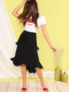 Ring Trim Flippy Hem High Low Belted Skirt