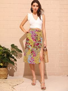 Ditsy Floral Slit Hem Buttoned Skirt