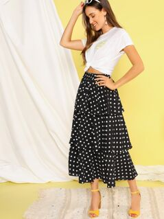 Polka-dot Print Layered Ruffle Skirt