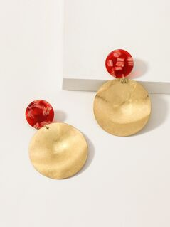Woven Straw And Hammered Disc Dangle Earrings