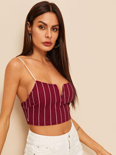 V-cut Front Pinstripe Crop Cami Top
