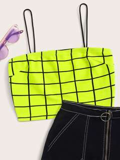 Neon Lime Grid Print Crop Cami Top