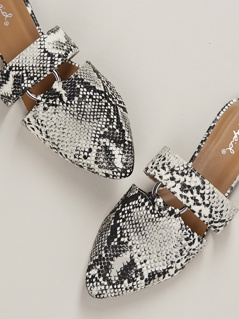 Ring Cut Out Snakeskin Pointed Toe Slide Mules