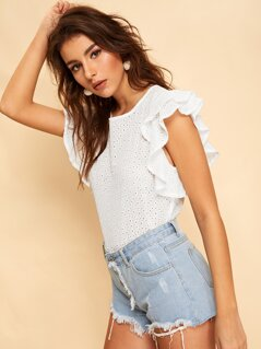 Layered Ruffle Armhole Embroidered Eyelet Top