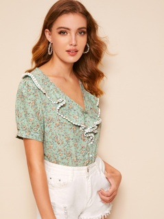 40s Lace Trim Botanical Print Ruffle Shirt