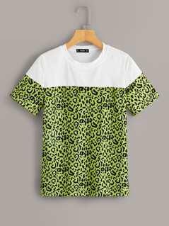 Neon Green Leopard Print Colorblock Top