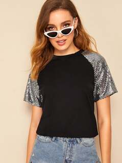 Sequin Patched Raglan Sleeve Tee