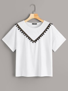 Embroidery Botanical Tassel Trim Tee