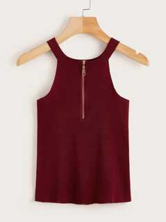 Zipper Back Rib-Knit Tank Top