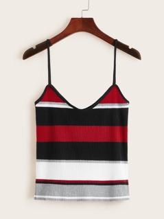 Colorblock Striped Rib-Knit Cami Top
