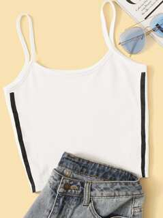 Side Striped Crop Cami Top