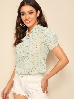 Shirred Mock Neck Petal Sleeve Ditsy Floral Blouse