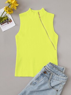 Neon Yellow Mock-neck Zip Detail Solid Tank Top