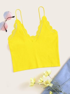 Neon Yellow Lace Trim Crop Cami Top