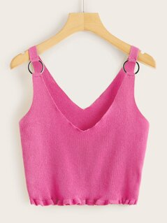 Neon Pink O-ring Detail Frilled Hem Rib-knit Top
