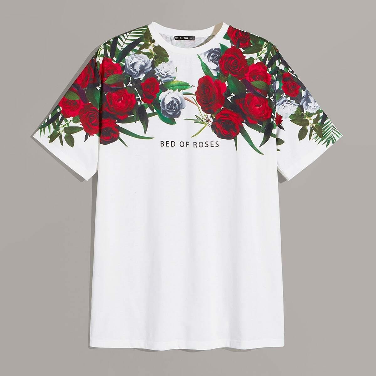 Heren bloemen- & letterprint-t-shirt
