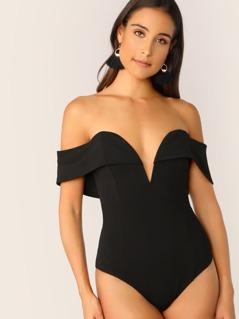 Foldover Plunge Sweetheart Bardot Bodysuit
