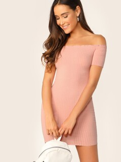 Rib-knit Off Shoulder Bodycon Dress