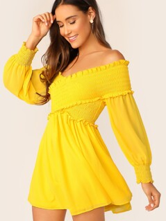 Neon Yellow Cross Wrap Shirred Bodice Bardot Dress