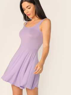 Scoop Back Jersey Skater Dress