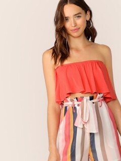 Neon Orange Swing Bandeau Top