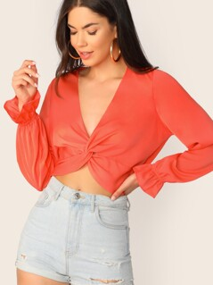 Neon Orange Twist Front Flounce Sleeve Crop Top