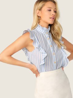 Ruffle Armhole Striped Shirt