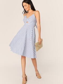 Twist Front Peekaboo Bow Tie Back Striped Dress