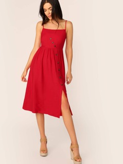 Asymmetrical Button Front Shirred Back Split Dress