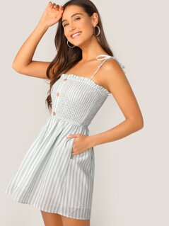 Shirred Bodice Pocket Side Striped Dress With Tie Strappy