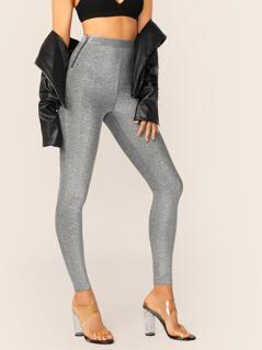 High Waist Zip Side Glitter Leggings