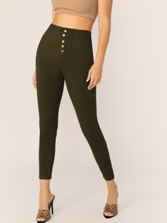Wide Band Waist Button Front Skinny Pants