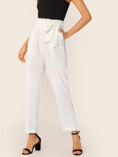 Paperbag Waist Bow Tie Side Pants
