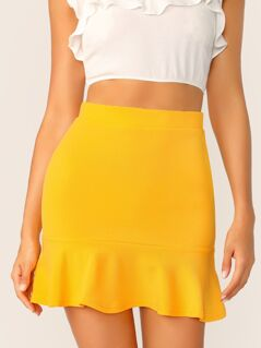 High Waist Pep Hem Textured Skirt