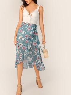 Floral Print Tie Waist Wrap Skirt