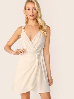 Surplice Neck Sleeveless Ring Detail Tie Dress