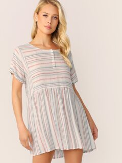 Shirred Waist Short Sleeve Stripe Dress