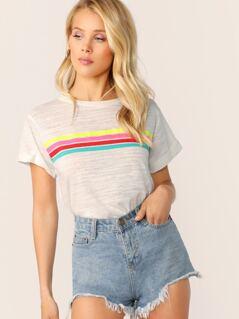 Crew Neck Slub Knit Short Sleeve Stripe T-Shirt