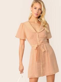 V-Neck Peter Pan Collar Button Front Gingham Dress