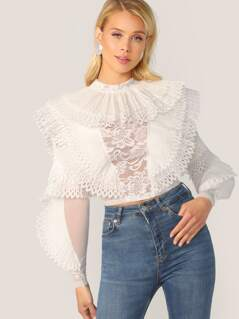 Pleated Ruffle Lace Detail Long Sleeve Blouse