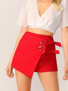 Wrap Front Double Tie Grommet Skort Shorts
