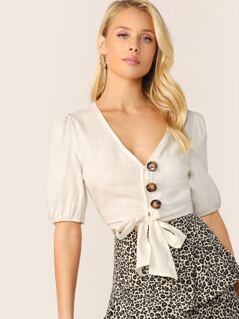 V-Neck Button Front Tie Hem Short Sleeve Crop Top